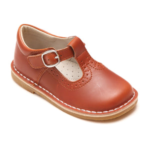 L'Amour Girls Frances Cognac Brogue Perforated T-Strap School Leather Mary Janes - Babychelle.com