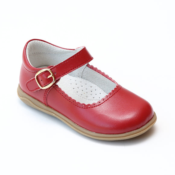 L'Amour Girls Red Scalloped Leather Mary Janes - Babychelle.com