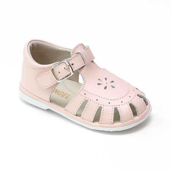 Baby Girls Shelby Pink Caged Leather Sandals - Babychelle.com