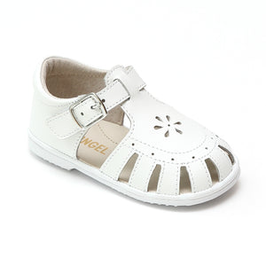 Baby Girls Shelby White Caged Leather Sandals - Babychelle.com
