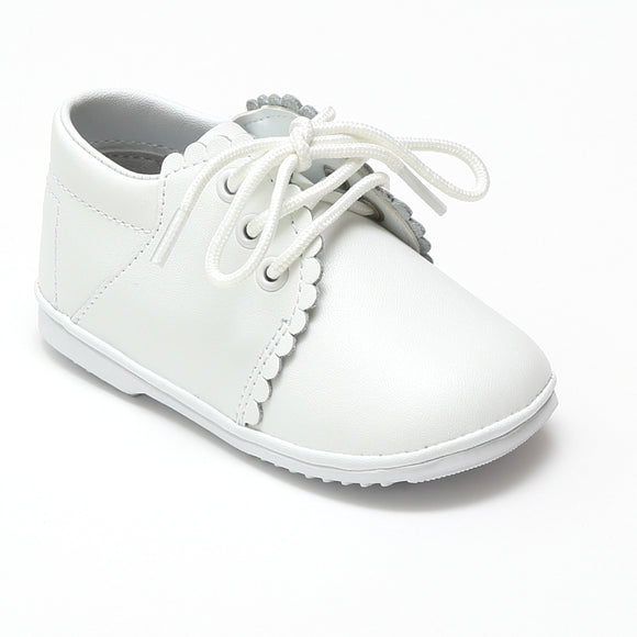 Angel Baby Girls Lacey White Scalloped Lace Up Booties - Babychelle.com