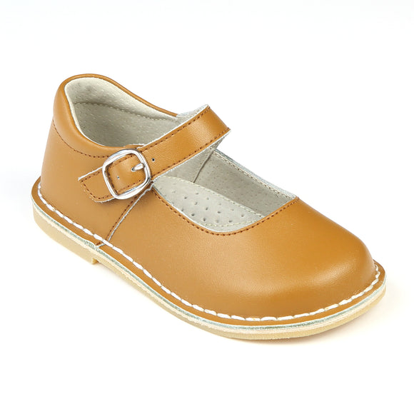 Toddler Girls Stitch Down Honey Brown Leather Mary Jane Shoes - Babychelle.com