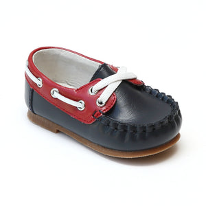 Angel Baby Boys Hudson Navy Red Two Tone Leather Boat Shoes - Babychelle.com