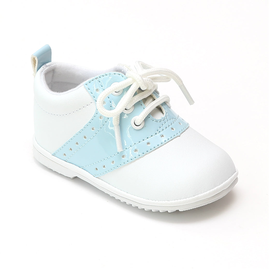 Angel White Lace Up Oxford Rubber Sole Christening Shoe Toddler Boy