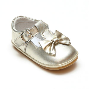 Angel Baby Girls Minnie Gold Bow Leather T-Strap Mary Jane - Babychelle.com