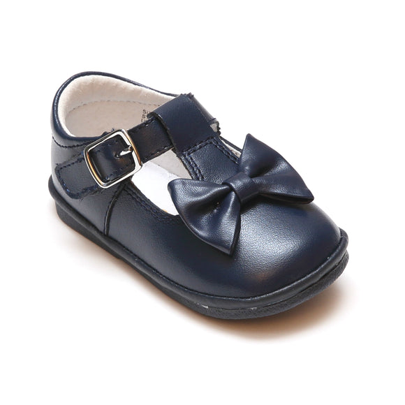 Angel Baby Girls Minnie Navy Bow Leather T-Strap Mary Jane - Babychelle.com