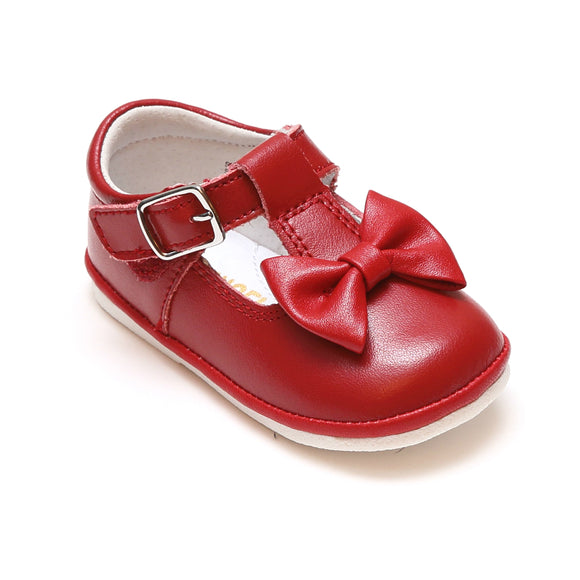Angel Baby Girls Minnie Red Bow Leather T-Strap Mary Jane - Babychelle.com