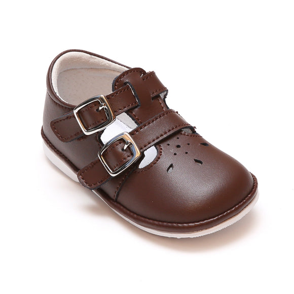 Angel Baby Girls Hattie Double Buckle Brown Leather English Mary Jane - Babychelle.com