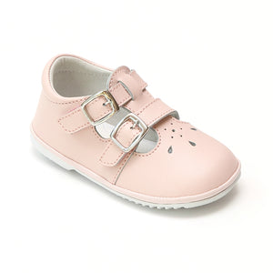 Angel Baby Girls Hattie Double Buckle Pink Leather English Mary Jane - Babychelle.com