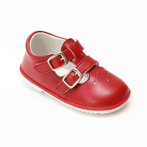 Angel Baby Girls Hattie Double Buckle Red Leather English Mary Jane - Babychelle.com