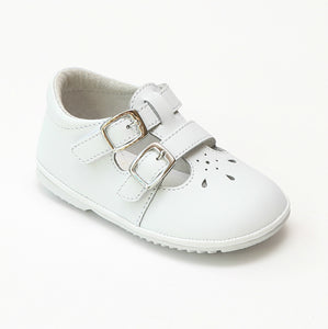 Angel Baby Girls Hattie Double Buckle White Leather English Mary Jane - Babychelle.com