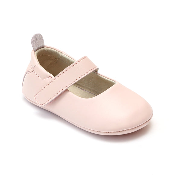 L'Amour Infant Girls Pink Leather Crib Mary Janes - Babychelle.com