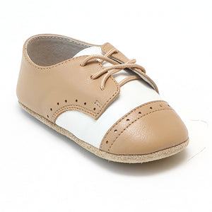 Infant Baby Boys Beige Tan Saddle Crib Shoe - Babychelle.com