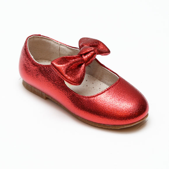 L'Amour Toddler Girls Celia Crinkled Metallic Red Bow Flats - Babychelle