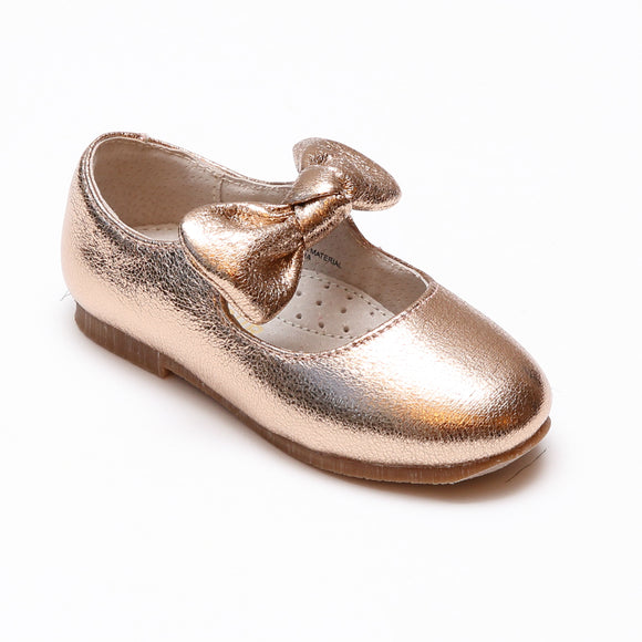L'Amour Toddler Girls Celia Crinkled Metallic Rosegold Bow Flats - Babychelle