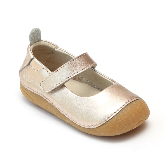 L'Amour Toddler Girls Copper Leather Flexible Mary Janes - babychelle.com