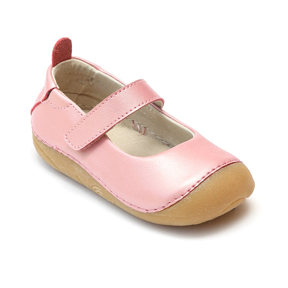 L'Amour Toddler Girls Guava Leather Flexible Mary Janes - babychelle.com