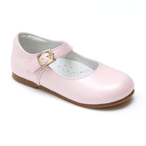 L'Amour Girls Rebecca Pearl Pink Napa Leather Special Occasion Buckled Flat - Babychelle.com