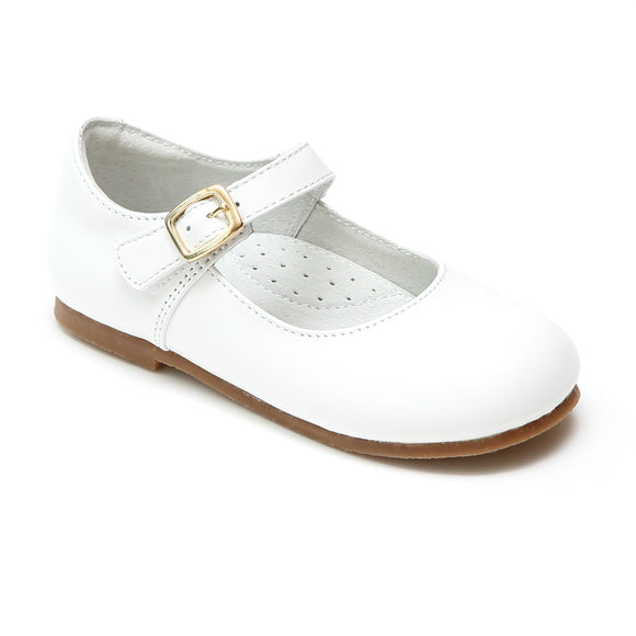 L'Amour Girls Rebecca Pearl White Napa Leather Special Occasion Buckled Flat - Babychelle.com