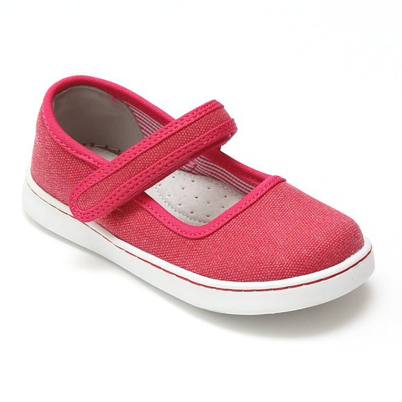 L'Amour Girls Jenna Fuchsia Canvas Mary Janes - Babychelle.com