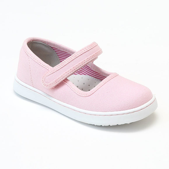 L'Amour Girls Jenna Pink Canvas Mary Janes - Babychelle.com