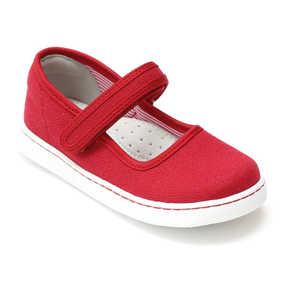 L'Amour Girls Jenna Red Canvas Mary Janes - Babychelle.com