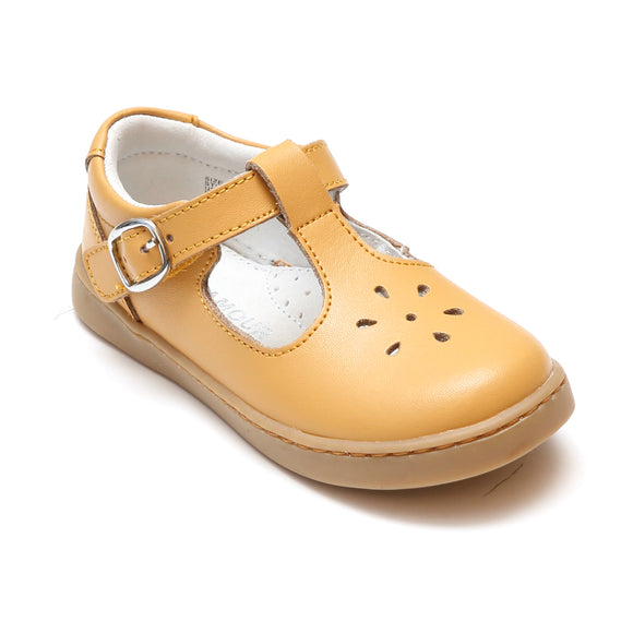 L'Amour Girls Chelsea Mustard Leather T-Strap Cupsole Mary Janes - Babychelle.com