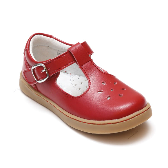 L'Amour Girls Chelsea Red Leather T-Strap Cupsole Mary Janes - Babychelle.com
