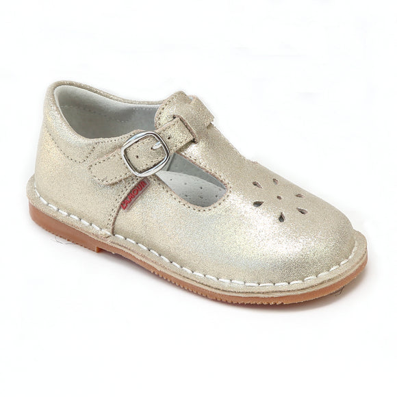 L'Amour Girls Metallic Champagne Shimmer Suede T-Strap Mary Janes - Toddler Mary Janes - Babychelle.com