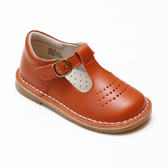 L'Amour Girls Cecile Spicy Orange Perforated T-Strap School Mary Janes - Babychelle.com