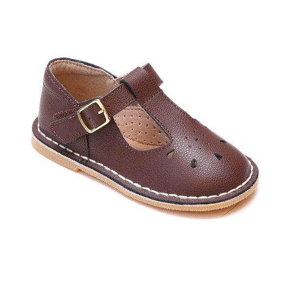 Bonnie Classic Marron Brown Pebbled Leather T-Strap School Mary Janes - Babychelle.com