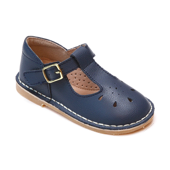 Bonnie Classic Navy Pebbled Leather T-Strap School Mary Janes - Babychelle.com