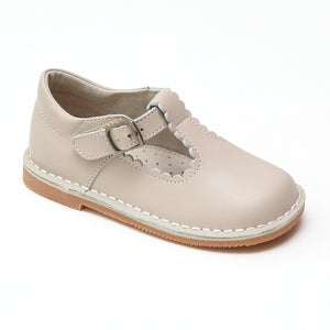 L'Amour Girls Selina Almond Leather Scalloped T-Strap Mary Janes - Babychelle.com