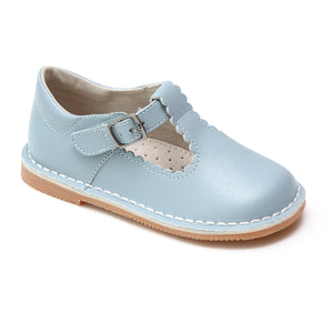 L'Amour Girls Selina Dusty Blue Leather Scalloped T-Strap Mary Janes - Babychelle.com