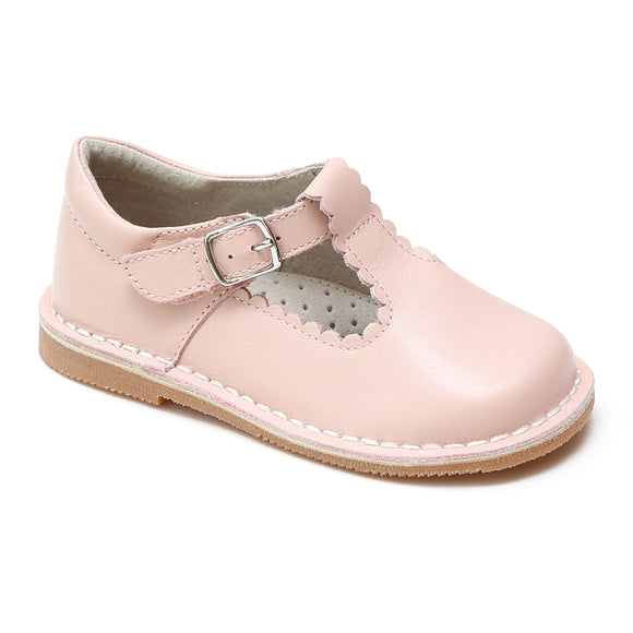 L'Amour Girls Selina Pink Leather Scalloped T-Strap Mary Janes - Babychelle.com