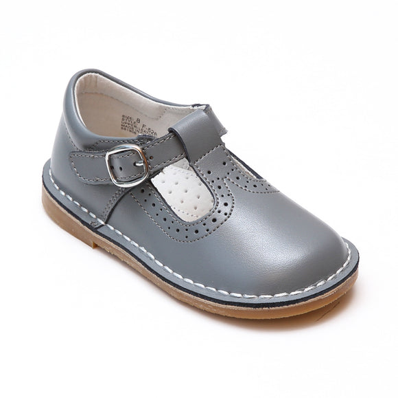 L'Amour Girls Frances Gray Perforated T-Strap School Leather Mary Janes - Babychelle.com