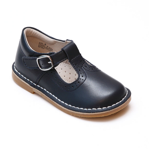 L'Amour Girls Frances Navy Perforated T-Strap School Leather Mary Janes - Babychelle.com