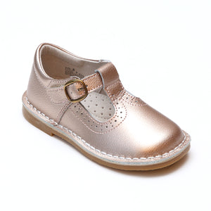 L'Amour Girls Frances Rosegold Perforated T-Strap School Leather Mary Janes - Babychelle.com