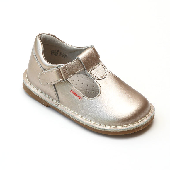 L'Amour Girls School Champagne Leather T-Strap Mary Janes - Babychelle.com