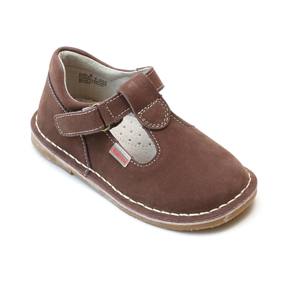 L'Amour Girls School Brown Nubuck Leather T-Strap Mary Janes - Babychelle.com