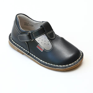 L'Amour Girls School Navy Leather T-Strap Mary Janes - Babychelle.com