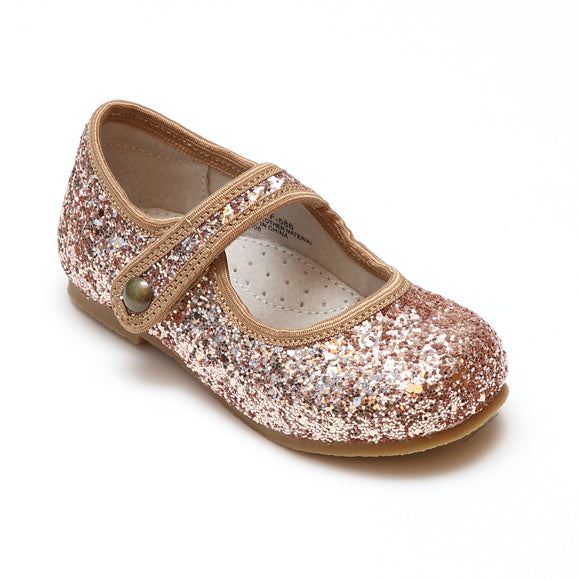 L'Amour Toddler Girls Renata Bronze Glitter Flats - Special Occasion and Holiday - Babychelle.com