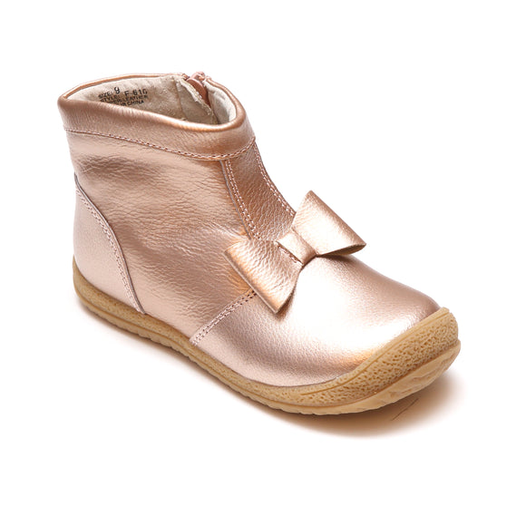 L'Amour Girls Rosegold Bow Leather Zip Ankle Boot - Babychelle.com