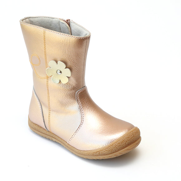 L'Amour Girls Rosegold Leather Flower Mid Boot - Babychelle.com