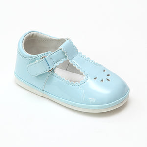 Angel Baby Girls Dottie Scalloped T-Strap Mary Janes - Patent Sky Blue - Babychelle.com
