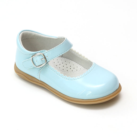 Angel Girls Scalloped Patent Sky Blue Mary Janes - Babychelle.com