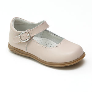 L'Amour Girls Scalloped Trim Leather Mary Janes