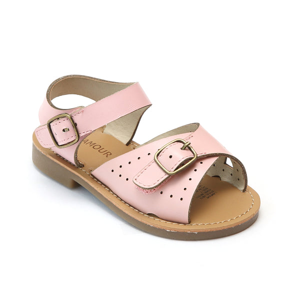 L'Amour Girls Pink Leather Buckled Sandals - Babychelle.com