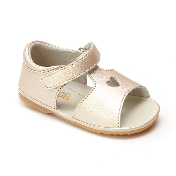 Angel Baby Girls Betsy Champagne Open Heart Leather Sandals - Babychelle.com