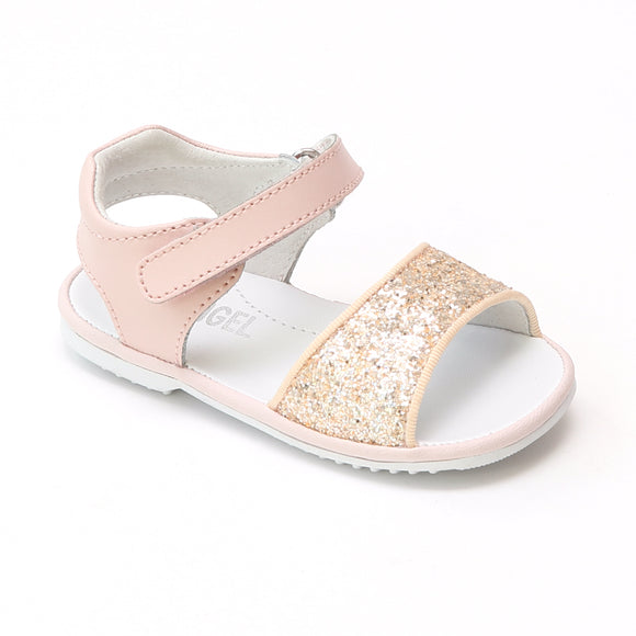 Angel Baby Girls Elise Glitter Pink Open Toe Sandals - Babychelle.com